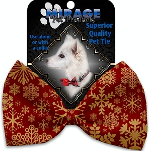 Red Snowflakes Pet Bow Tie