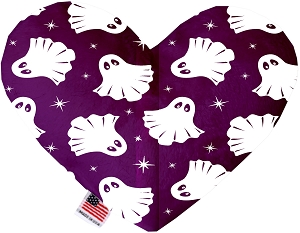 Ghosts on Purple 6 inch Stuffing Free Heart Dog Toy