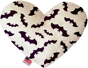 Purple Bats 6 inch Stuffing Free Heart Dog Toy