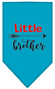 Little Brother Screen Print Bandana Turquoise Small