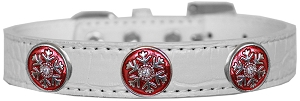 Ruby Red Snowflake Halo Croc Dog Collar White Size 16