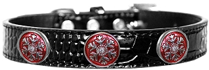 Ruby Red Snowflake Halo Croc Dog Collar Black Size 16