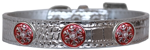 Ruby Red Snowflake Halo Croc Dog Collar Silver Size 16