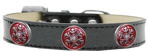 Ruby Red Snowflake Halo Dog Collar Black Ice Cream Size 20