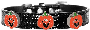 Enamel Pumpkin Halo Croc Dog Collar Black Size 16