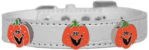Enamel Pumpkin Halo Croc Dog Collar White Size 14