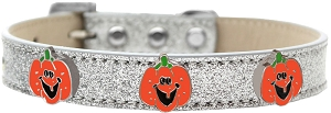 Enamel Pumpkin Halo Dog Collar Silver Ice Cream Size 14