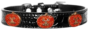 Crystal Pumpkin Halo Croc Dog Collar Black Size 14
