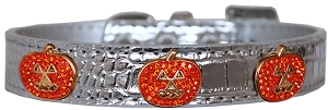 Crystal Pumpkin Halo Croc Dog Collar Silver Size 12