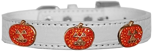 Crystal Pumpkin Halo Croc Dog Collar White Size 16
