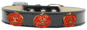 Crystal Pumpkin Halo Dog Collar Black Ice Cream Size 20