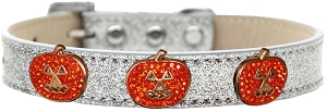 Crystal Pumpkin Halo Dog Collar Silver Ice Cream Size 12