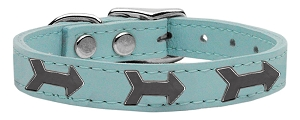 Arrow Widget Genuine Leather Dog Collar Baby Blue 26