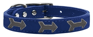 Arrow Widget Genuine Leather Dog Collar Blue 10