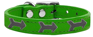 Arrow Widget Genuine Leather Dog Collar Emerald Green 12