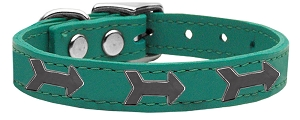 Arrow Widget Genuine Leather Dog Collar Jade 22