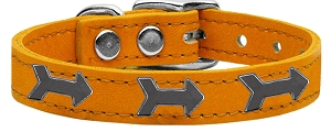Arrow Widget Genuine Leather Dog Collar Mandarin 12