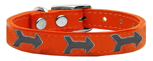 Arrow Widget Genuine Leather Dog Collar Orange 12