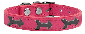 Arrow Widget Genuine Leather Dog Collar Pink 12