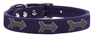 Arrow Widget Genuine Leather Dog Collar Purple 14