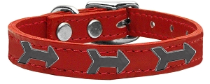 Arrow Widget Genuine Leather Dog Collar Red 12