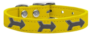 Arrow Widget Genuine Leather Dog Collar Yellow 14