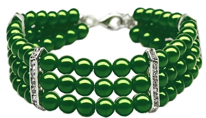 Three Row Pearl Necklace Emerald Green Lg