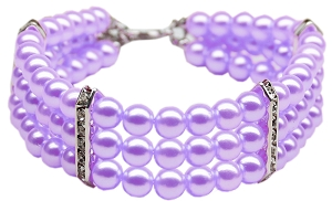 Three Row Pearl Necklace Lavender Sm