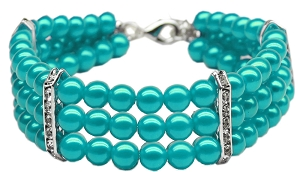 Three Row Pearl Necklace Turquoise Lg