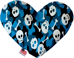 Blue Camo Skulls 6 inch Stuffing Free Heart Dog Toy