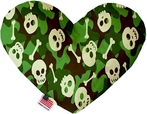 Green Camo Skulls 8 inch Stuffing Free Heart Dog Toy
