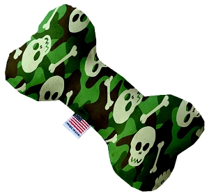 Green Camo Skulls 8 inch Stuffing Free Bone Dog Toy