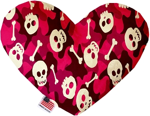 Pink Camo Skulls 6 inch Stuffing Free Heart Dog Toy