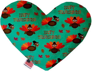 Happy Thanksgiving 6 inch Stuffing Free Heart Dog Toy
