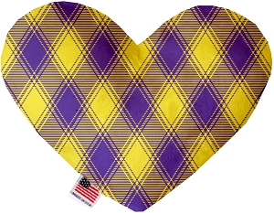 Purple and Yellow Plaid 8 inch Stuffing Free Heart Dog Toy