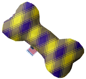 Purple and Yellow Plaid 8 inch Stuffing Free Bone Dog Toy