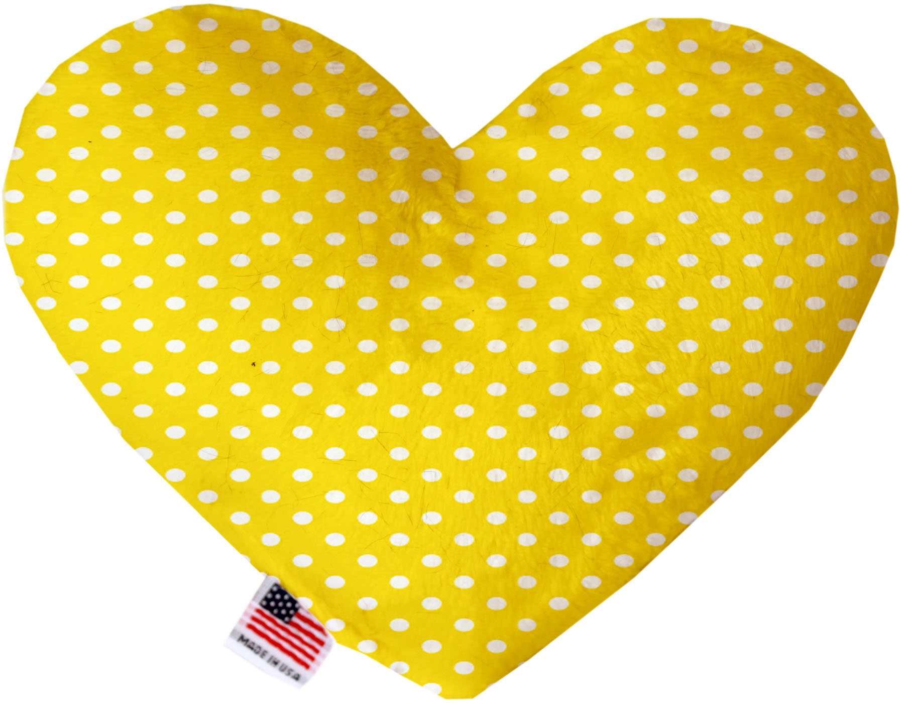 Yellow Polka Dots 8 Inch Heart Dog Toy