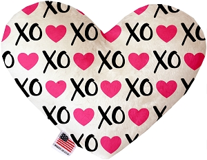 Pink XOXO 6 inch Stuffing Free Heart Dog Toy