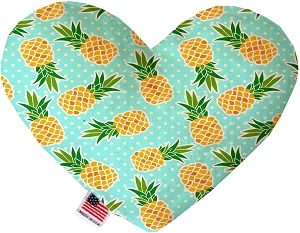 Pineapples and Polka Dots 6 inch Stuffing Free Heart Dog Toy