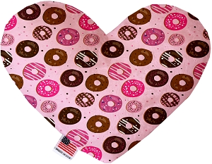 Pink Donuts 6 inch Stuffing Free Heart Dog Toy
