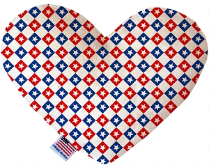 Patriotic Checkered Stars 6 inch Stuffing Free Heart Dog Toy