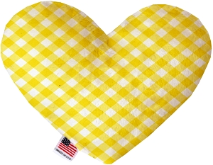 Yellow Plaid 8 inch Heart Dog Toy