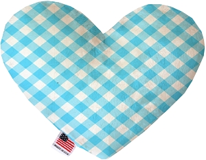 Baby Blue Plaid 8 inch Heart Dog Toy