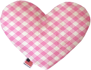 Baby Pink Plaid 6 inch Stuffing Free Heart Dog Toy