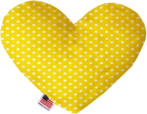 Yellow Polka Dots 6 inch Stuffing Free Heart Dog Toy