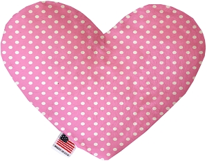Pink Polka Dots 6 inch Stuffing Free Heart Dog Toy