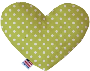 Lime Green Polka Dots 6 inch Stuffing Free Heart Dog Toy