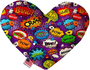 Purple Comic Sound Effects 8 inch Heart Dog Toy