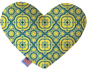 Blue and Yellow Moroccan Patterned 6 inch Stuffing Free Heart Dog Toy