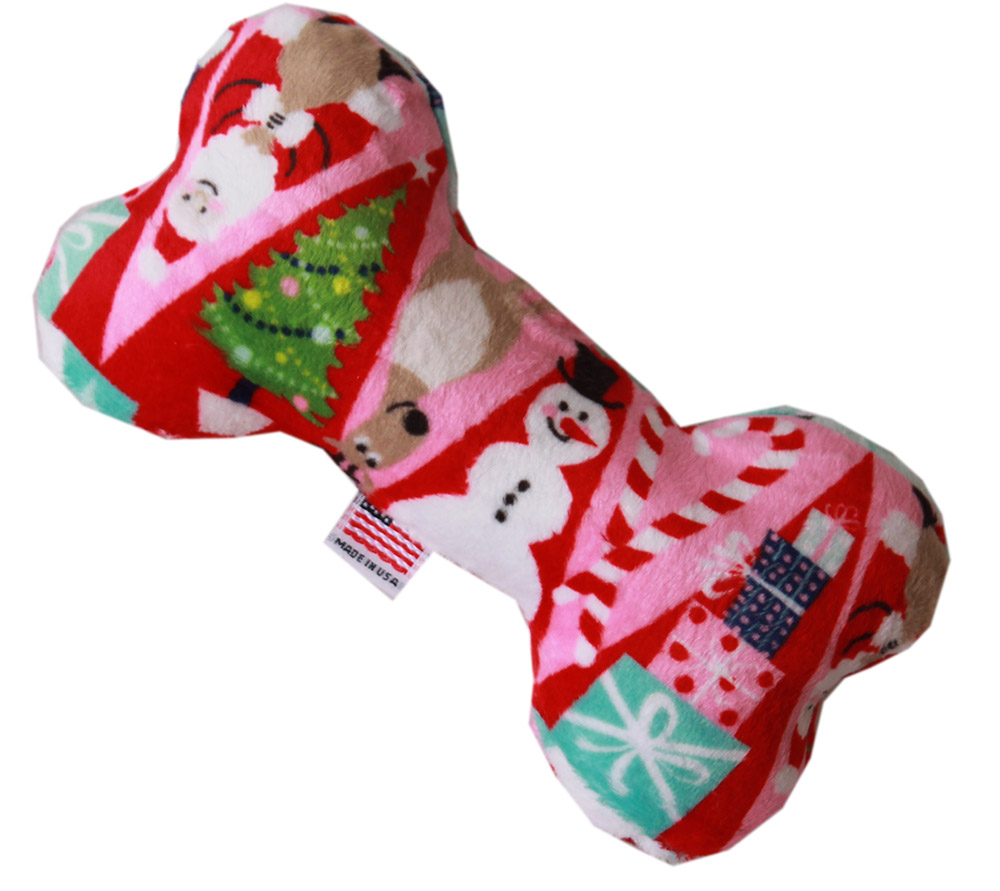 6 plush bone dog toy christmas medley